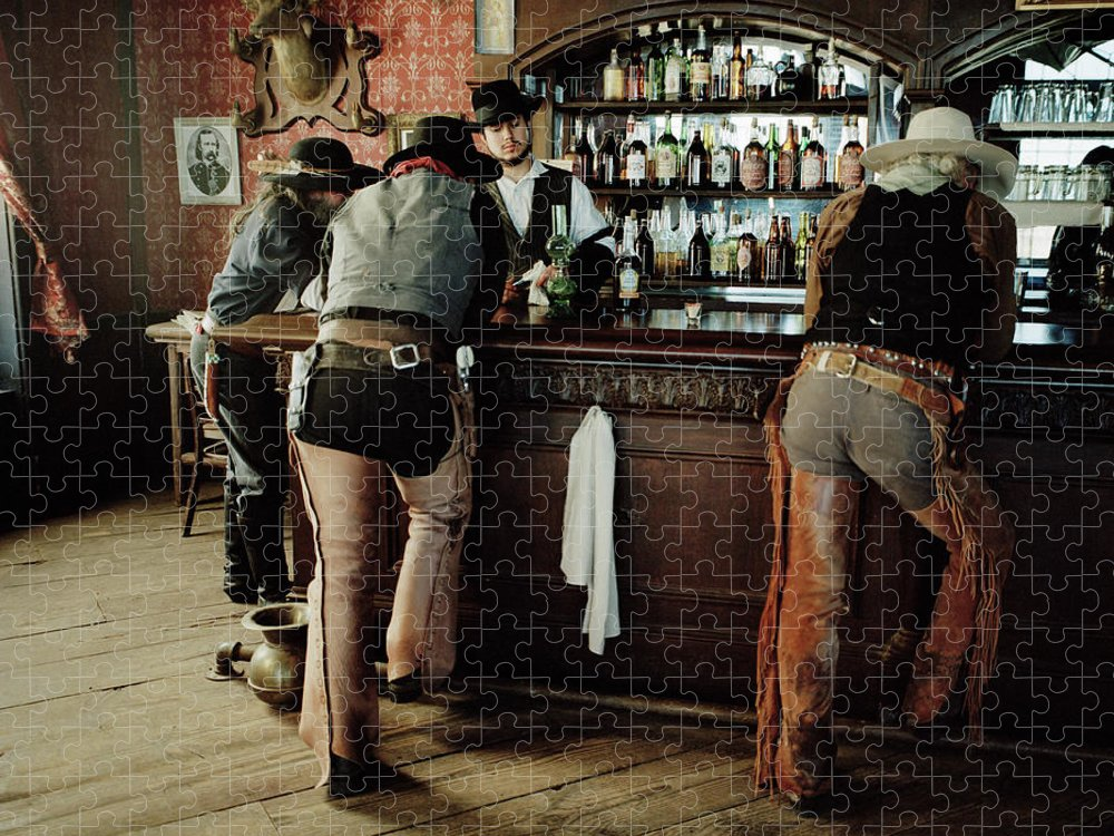 Young Men Puzzle featuring the photograph Cowboys At Saloon by Matthias Clamer