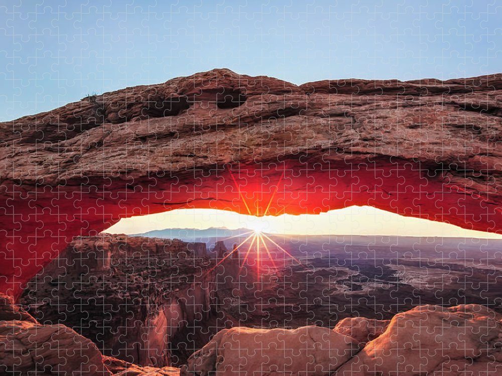 Scenics Puzzle featuring the photograph Crest, Mesa Arch by Ropelato Photography; Earthscapes