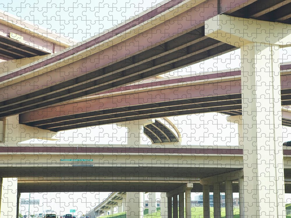 Crisscross Puzzle featuring the photograph Crisscrossing Freeway Overpasses by Siri Stafford