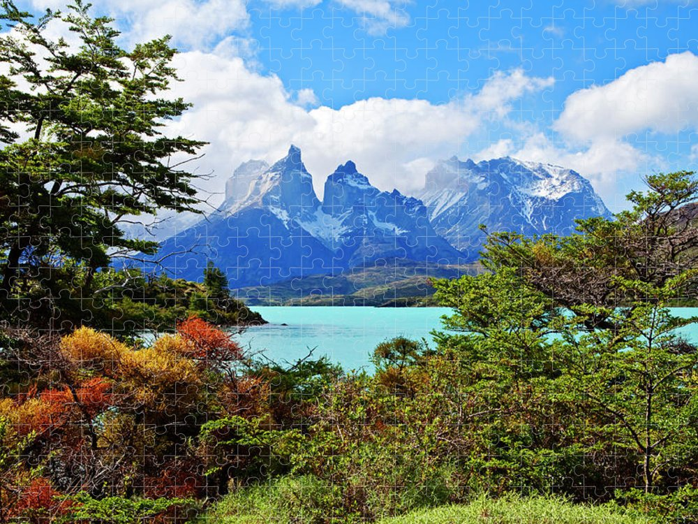 Tranquility Puzzle featuring the photograph Cuernos Del Paine, Patagonia by John W Banagan