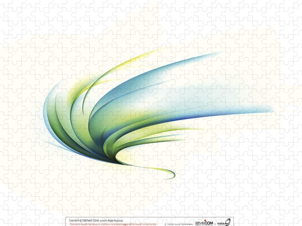 Curve Puzzle featuring the digital art Curved Shape On White Background by Eastnine Inc.