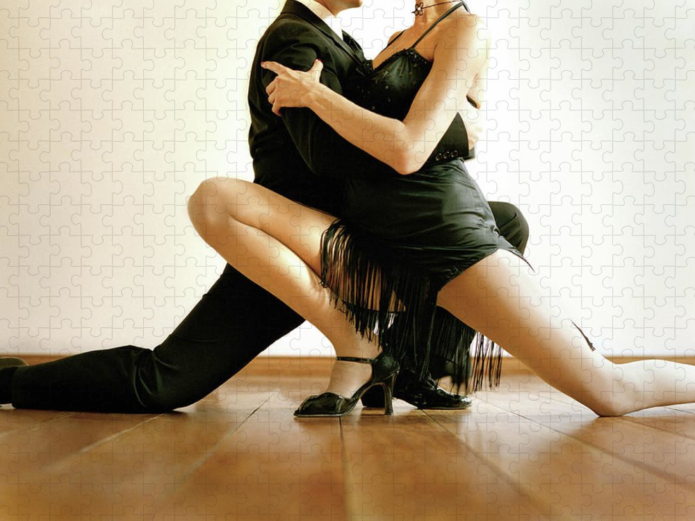 Heterosexual Couple Puzzle featuring the photograph Dancers In Tango Position, Low Section by David Sacks