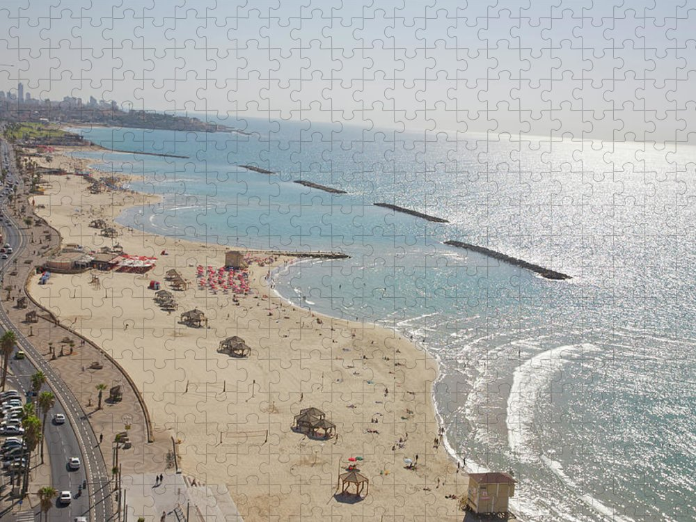 Tranquility Puzzle featuring the photograph Day View Of Tel Aviv Promenade And Beach by Barry Winiker
