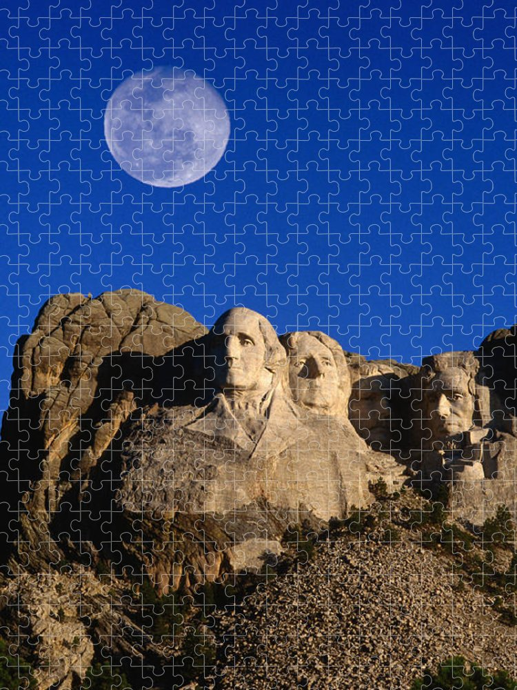 Mt Rushmore National Monument Puzzle featuring the photograph Daytime Moon Above Presidential Faces by Mark Newman