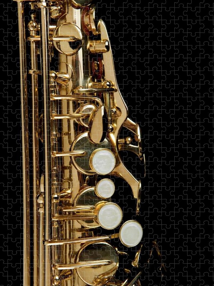 Music Puzzle featuring the photograph Detail Of A Saxophone by Junior Gonzalez