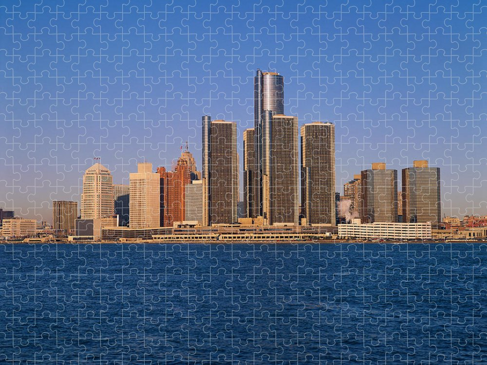 Detroit Puzzle featuring the photograph Detroit Buildings On The Water by Visionsofamerica/joe Sohm