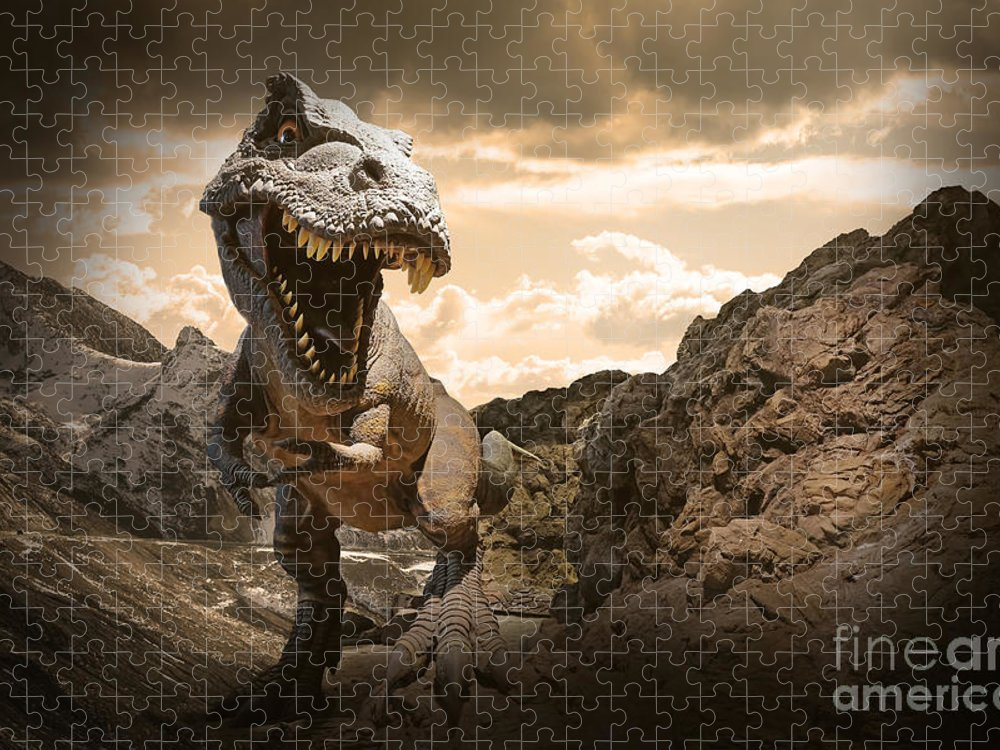 Big Puzzle featuring the photograph Dinosaurs Model On Rock Mountain by Sahachatz
