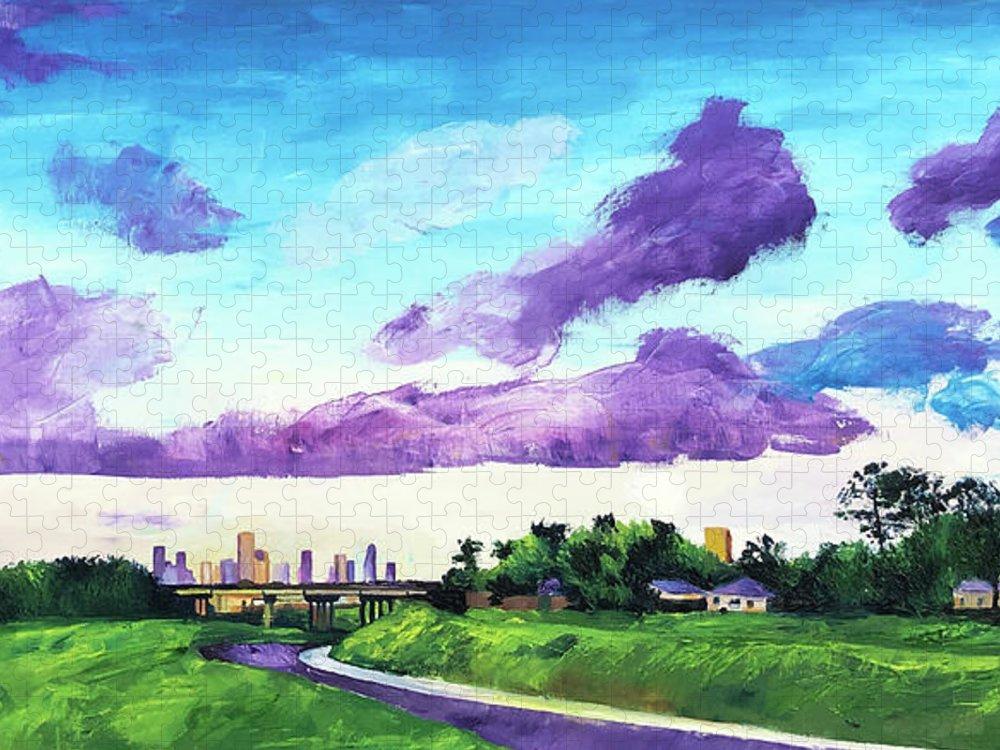 Little White Oak Bayou Puzzle featuring the painting Disrupted Serenity Little White Oak Bayou by Lauren Luna