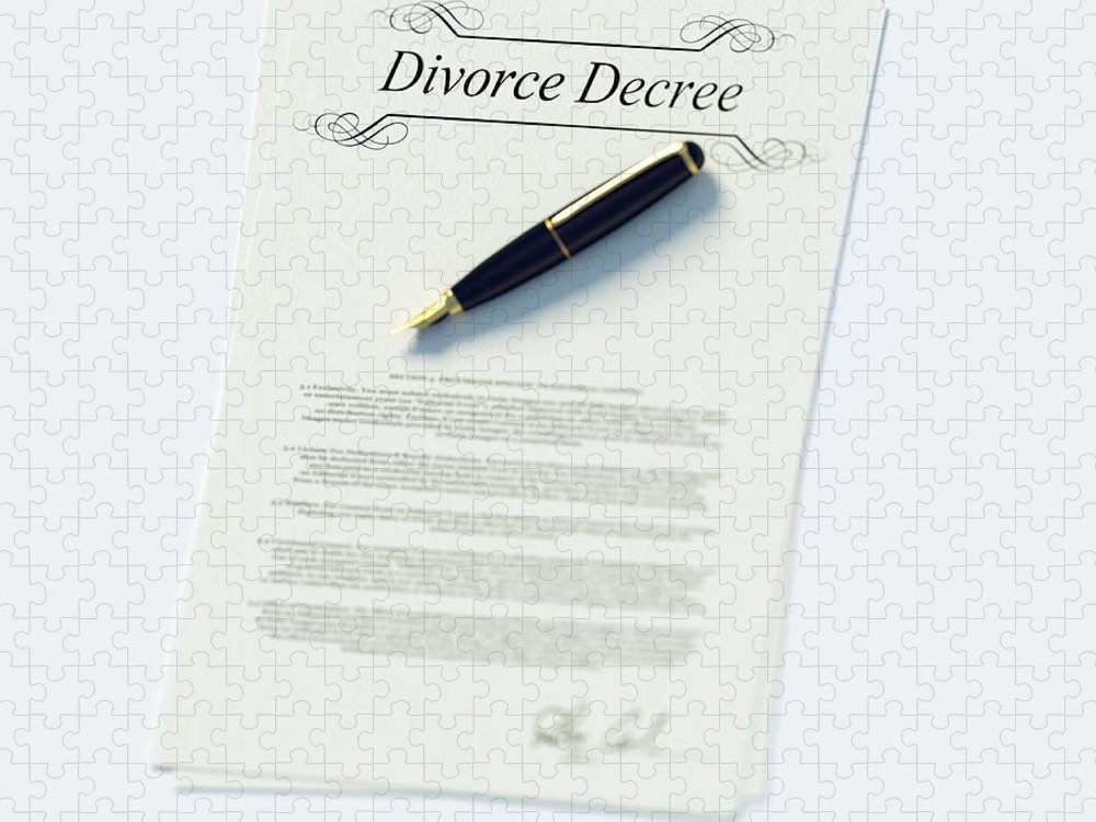 White Background Puzzle featuring the photograph Divorce Papers In English And Pen by Doug Armand