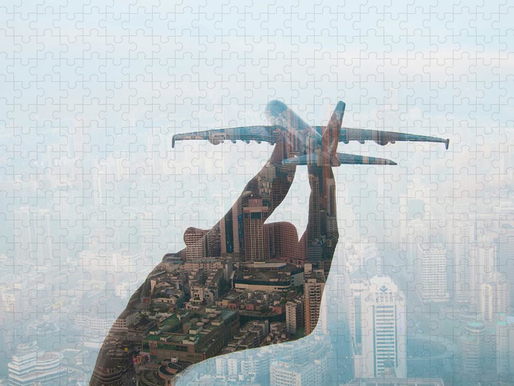 People Puzzle featuring the photograph Double Exposure Of Hand Holding Model by Jasper James