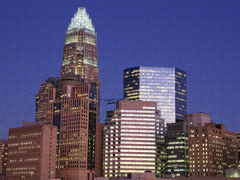 North Carolina Puzzle featuring the photograph Downtown Charlotte, Nc At Night by Jumper