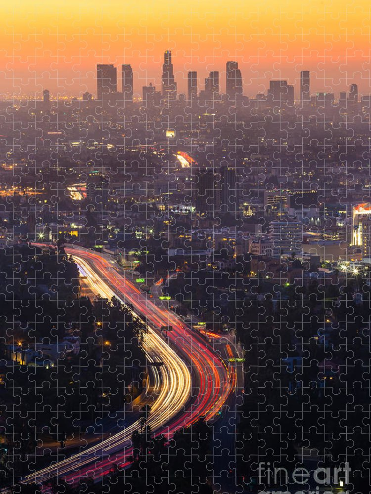 Freeway Puzzle featuring the photograph Downtown Los Angeles Skyline by F11photo