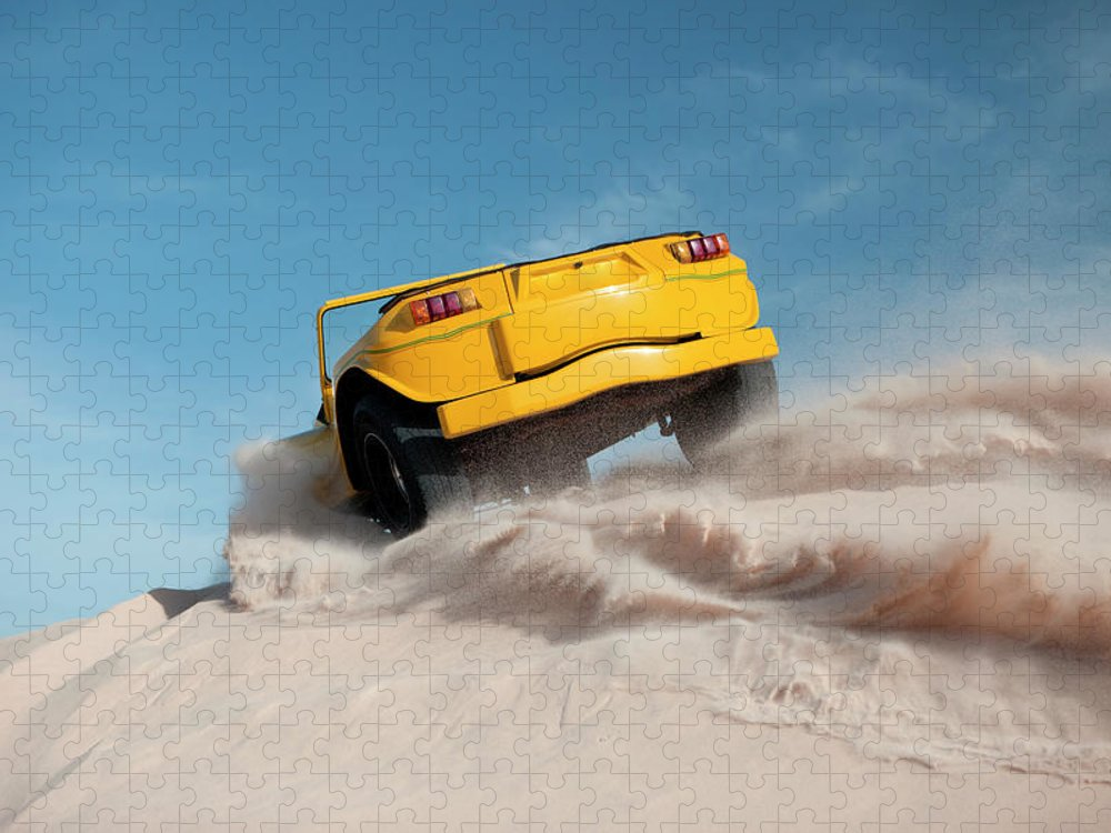 Dust Puzzle featuring the photograph Driving On Sand, Jericoacoara, Brazil by Tunart
