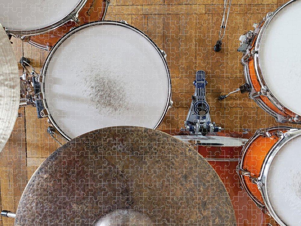 Berlin Puzzle featuring the photograph Drum Kit Arrangement by Halfdark