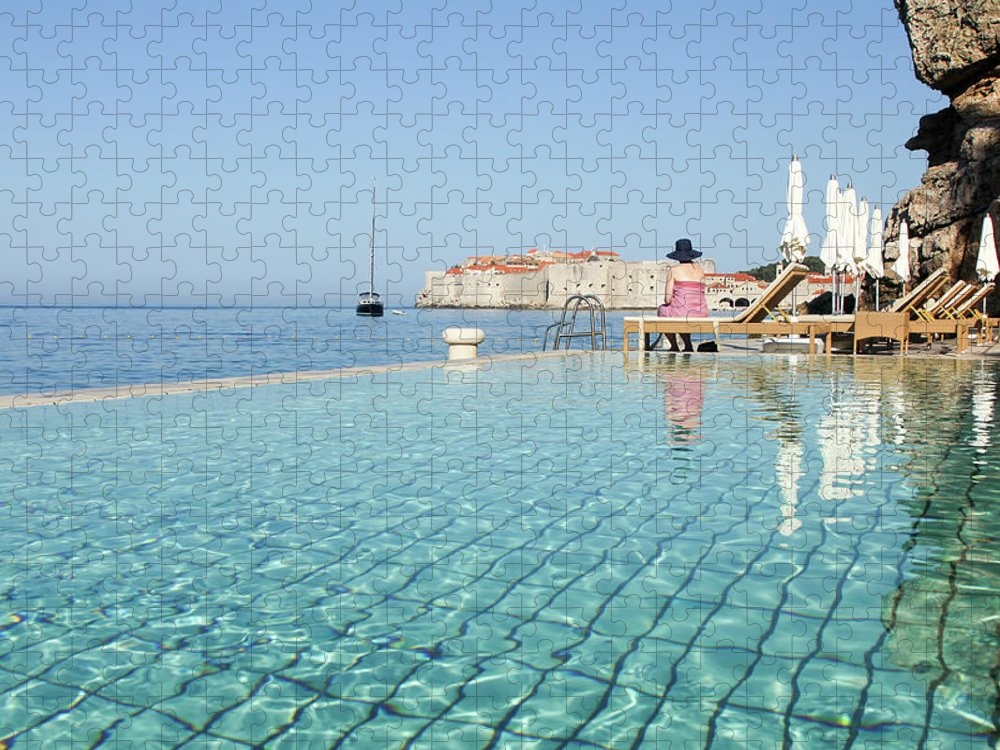 Adriatic Sea Puzzle featuring the photograph Dubrovnik In Dalmatia, Croatia by Davidcallan