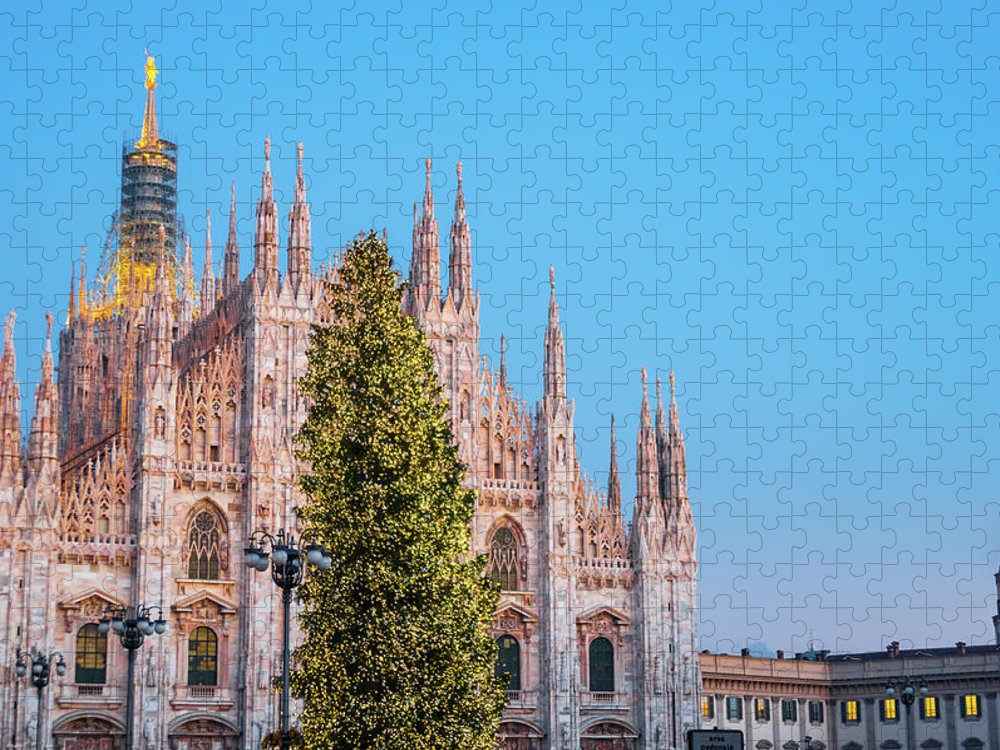 Gothic Style Puzzle featuring the photograph Duomo Di Milano At Christmas by Mmac72
