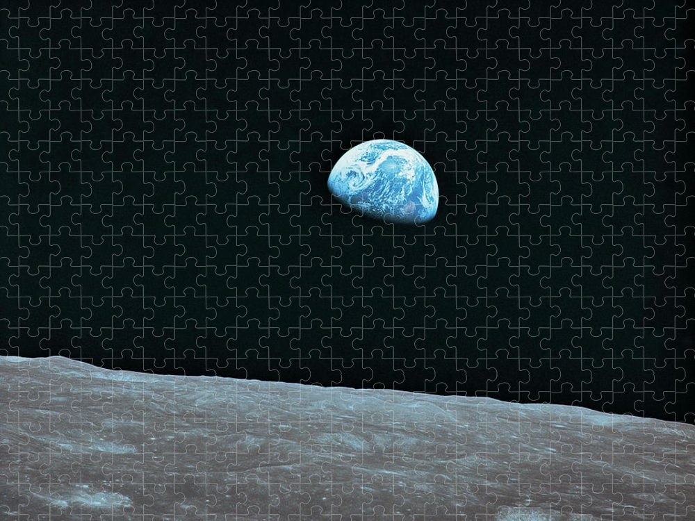 Black Color Puzzle featuring the photograph Earth And Lunar Landscape by Digital Vision.