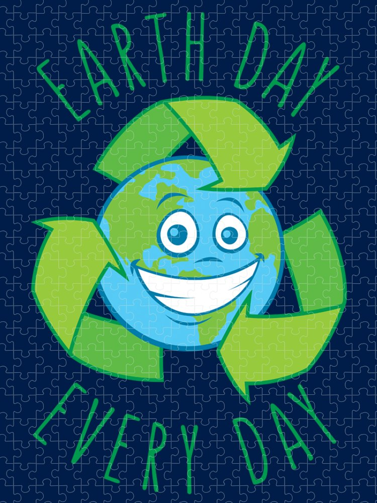 Green Puzzle featuring the digital art Earth Day Every Day Recycle Cartoon by John Schwegel