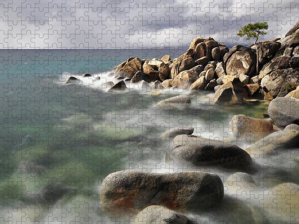 Tranquility Puzzle featuring the photograph East Shore, Lake Tahoe by Stevedunleavy.com