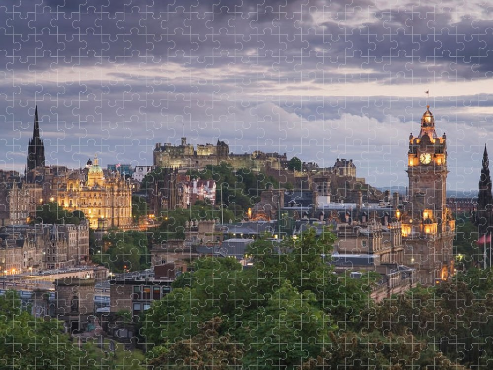 Lothian Puzzle featuring the photograph Edinburgh At Dusk by Northlightimages