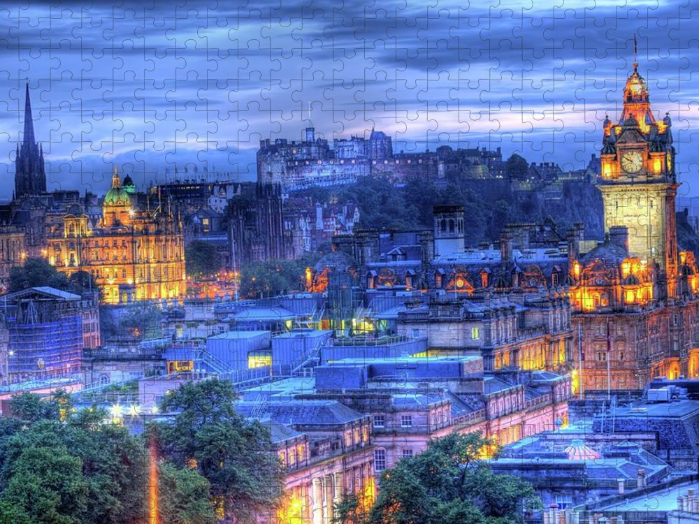 Tranquility Puzzle featuring the photograph Edinburgh Castle At Night by Exploring The World