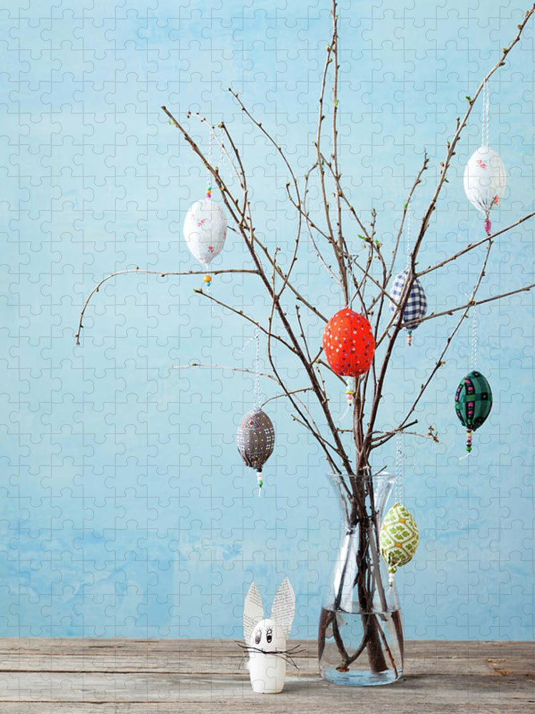 Holiday Puzzle featuring the photograph Egg-shaped Decorations On Branches by Stefanie Grewel