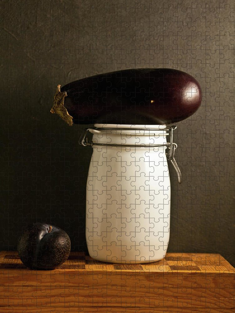 Plum Puzzle featuring the photograph Eggplant, Plum And Jar Still Life by Marilyn Conway