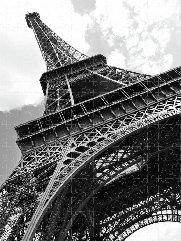 Black Color Puzzle featuring the photograph Eiffel Tower In Black And White by Sarah8000