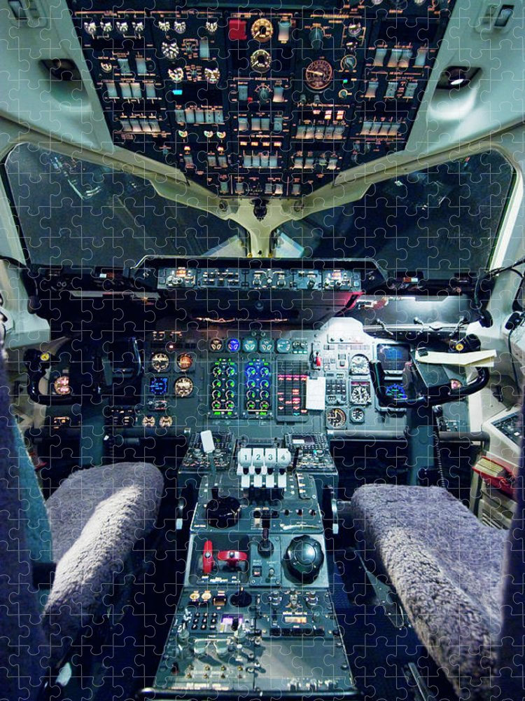 Cockpit Puzzle featuring the photograph Empty Aeroplane Cockpit by Moodboard