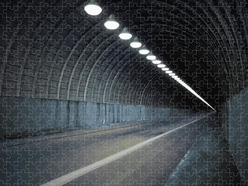 Empty Puzzle featuring the photograph Empty Tunnel With Lights Digital by Ed Freeman