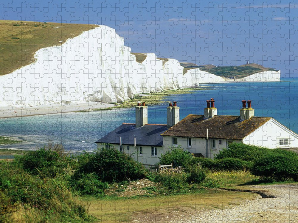 Scenics Puzzle featuring the photograph England, Sussex, Seven Sisters Cliffs by David C Tomlinson