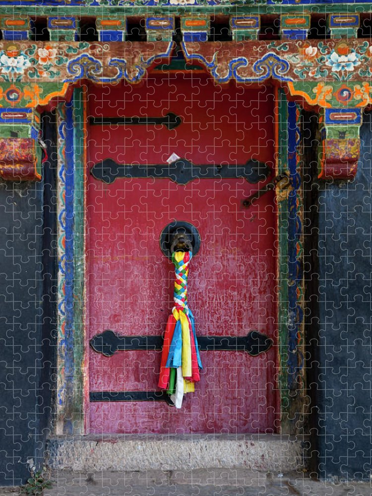 Chinese Culture Puzzle featuring the photograph Entrance To The Tibetan Monastery by Hanhanpeggy