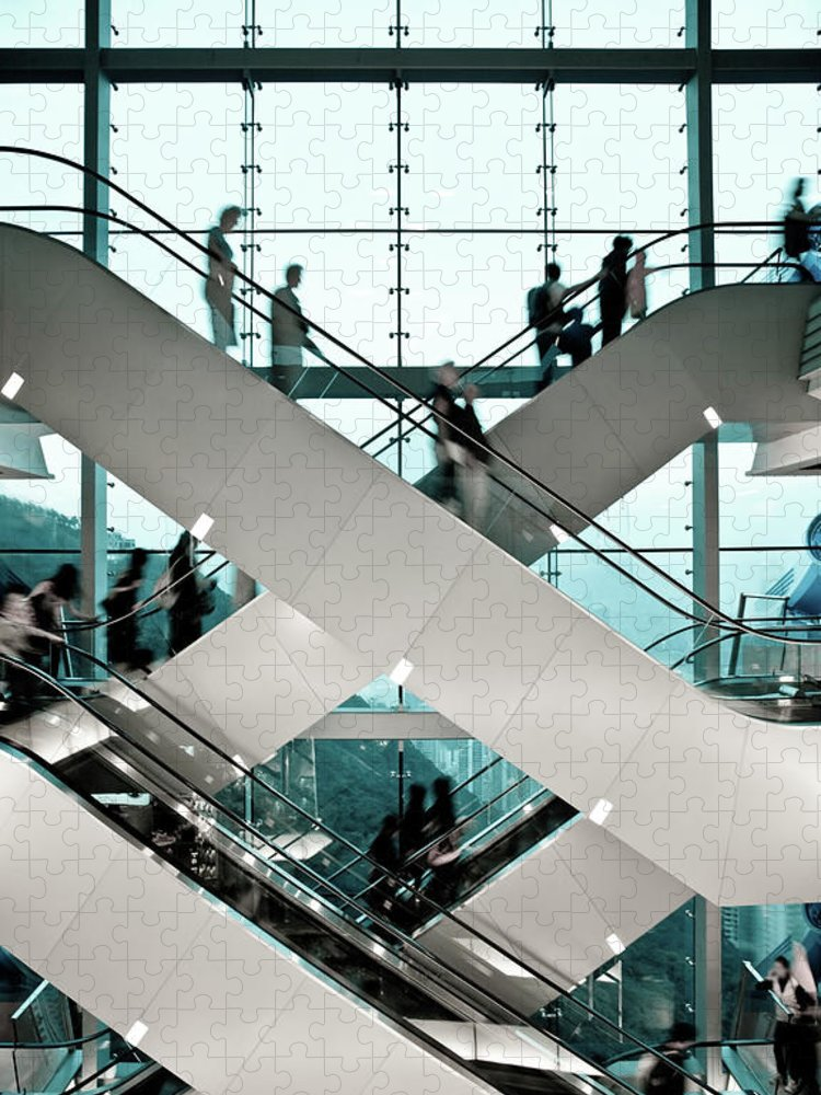 People Puzzle featuring the photograph Escalator by Ymgerman