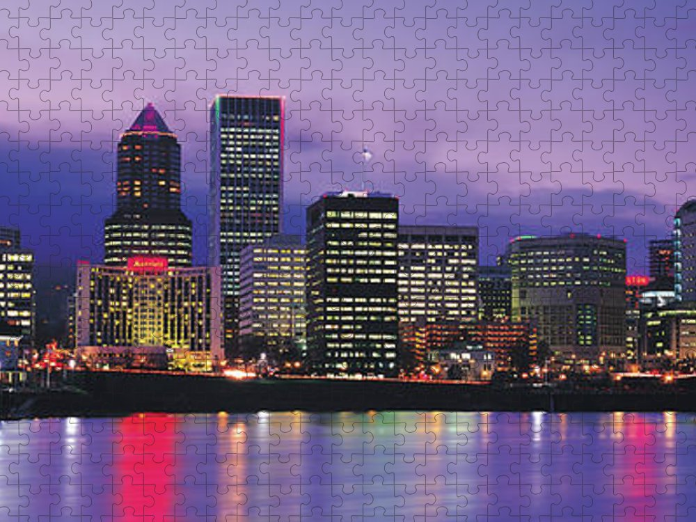 Dawn Puzzle featuring the photograph Evening Portland, Oregon Skyline by Jeremy Woodhouse