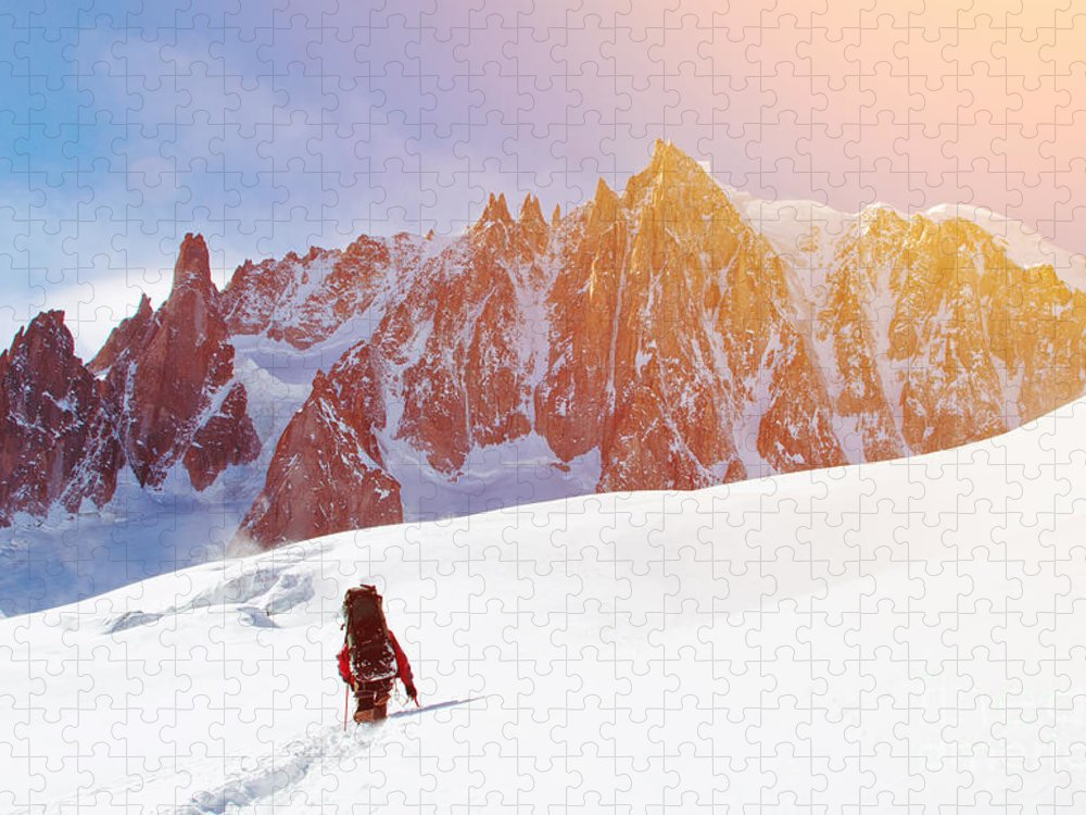 Altitude Puzzle featuring the photograph Extreme Sport Lone Hikers In Winter by Vixit