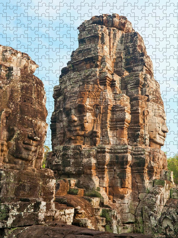 Cambodian Culture Puzzle featuring the photograph Faces On Bayon Temple Cambodia by Leezsnow