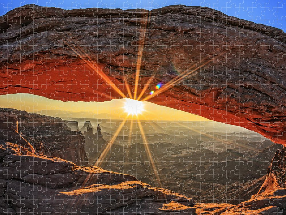 Southwest Puzzle featuring the photograph Famous Sunrise At Mesa Arch by Prochasson Frederic