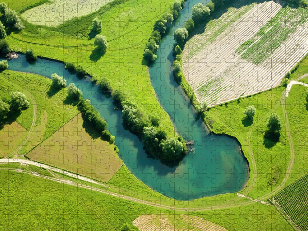 Scenics Puzzle featuring the photograph Farmland Patchwork, Aerial View by Vpopovic