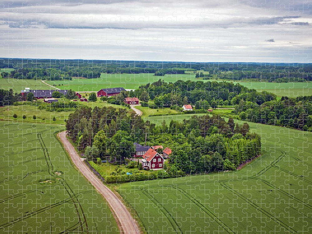 Scenics Puzzle featuring the photograph Farms And Fields In Sweden North Europe by Pavliha
