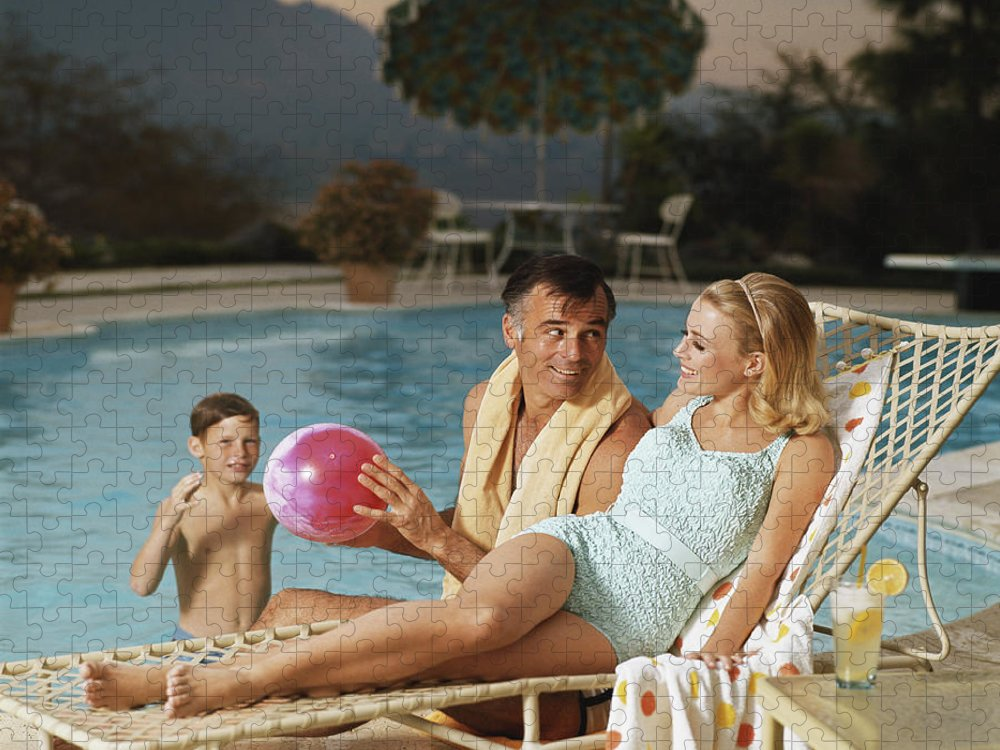 Mid Adult Women Puzzle featuring the photograph Father And Son Playing With Beach Ball by Tom Kelley Archive