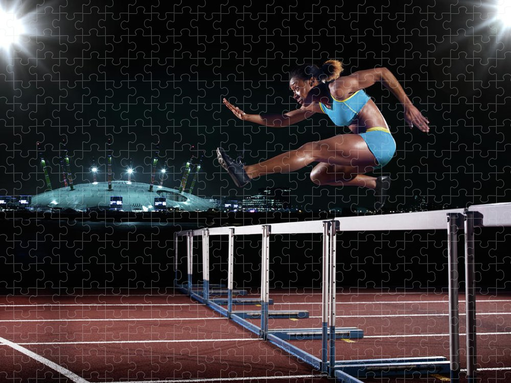 People Puzzle featuring the photograph Female Hurdling In London by Mike Harrington