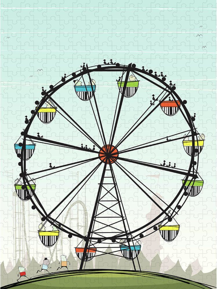 Grass Puzzle featuring the digital art Ferris Wheel by Jcgwakefield