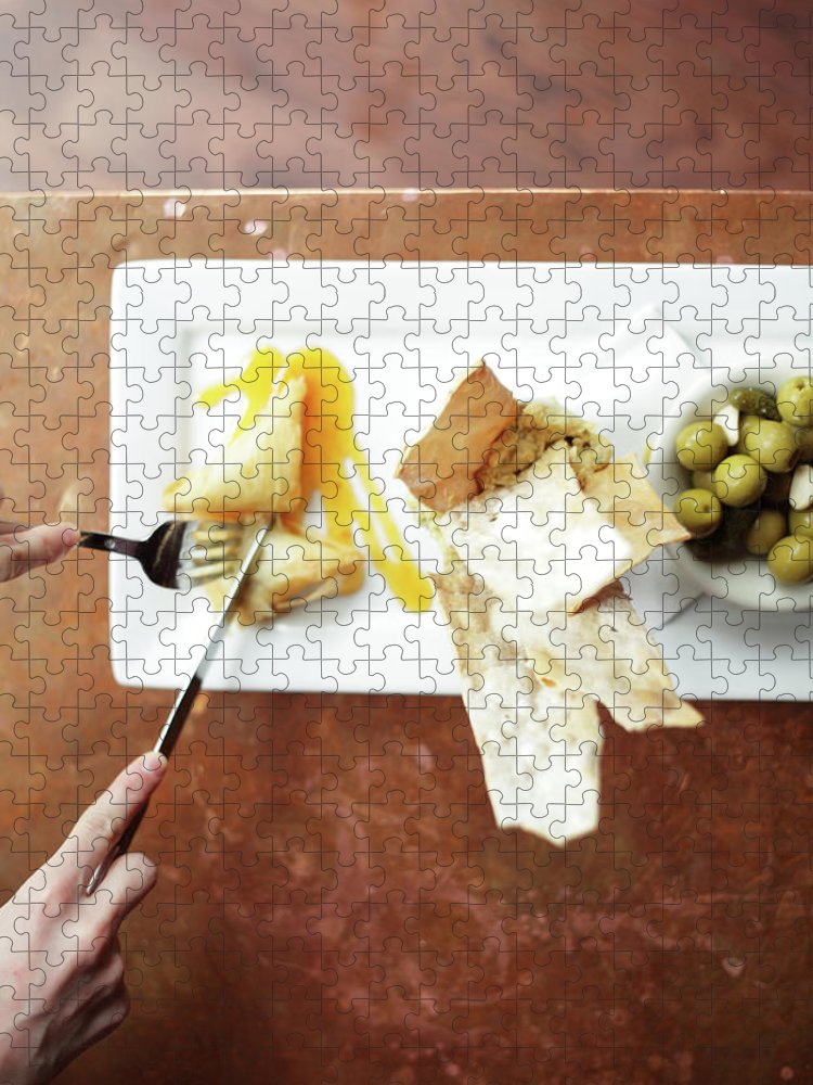 Feta Cheese Puzzle featuring the photograph Feta Crisps by Caleb Condit