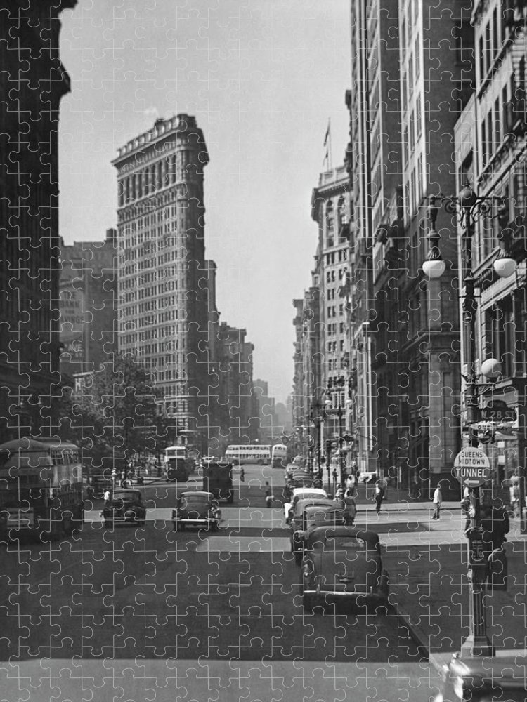 1950-1959 Puzzle featuring the photograph Fifth Ave. And The Flatiron Bldg by George Marks