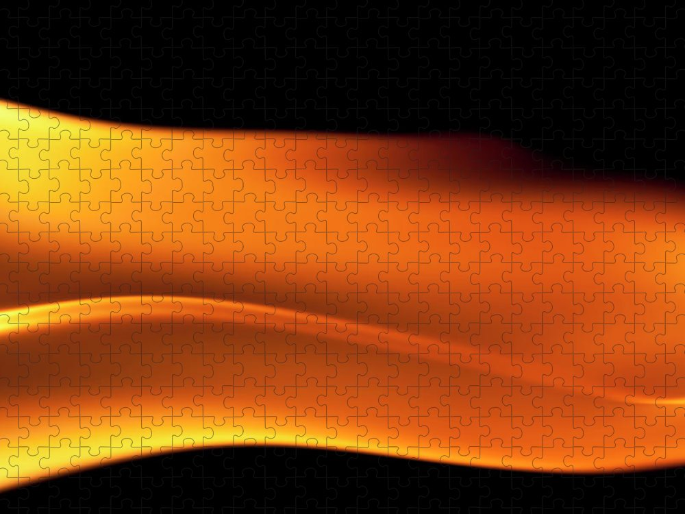 Orange Color Puzzle featuring the photograph Fire Burning, Flames On Black Background by Tttuna