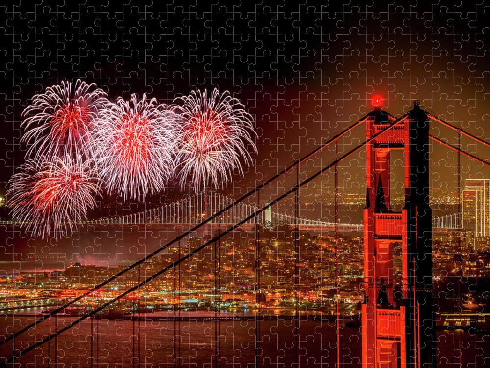 San Francisco Puzzle featuring the photograph Firework At San Francisco, California by Spondylolithesis