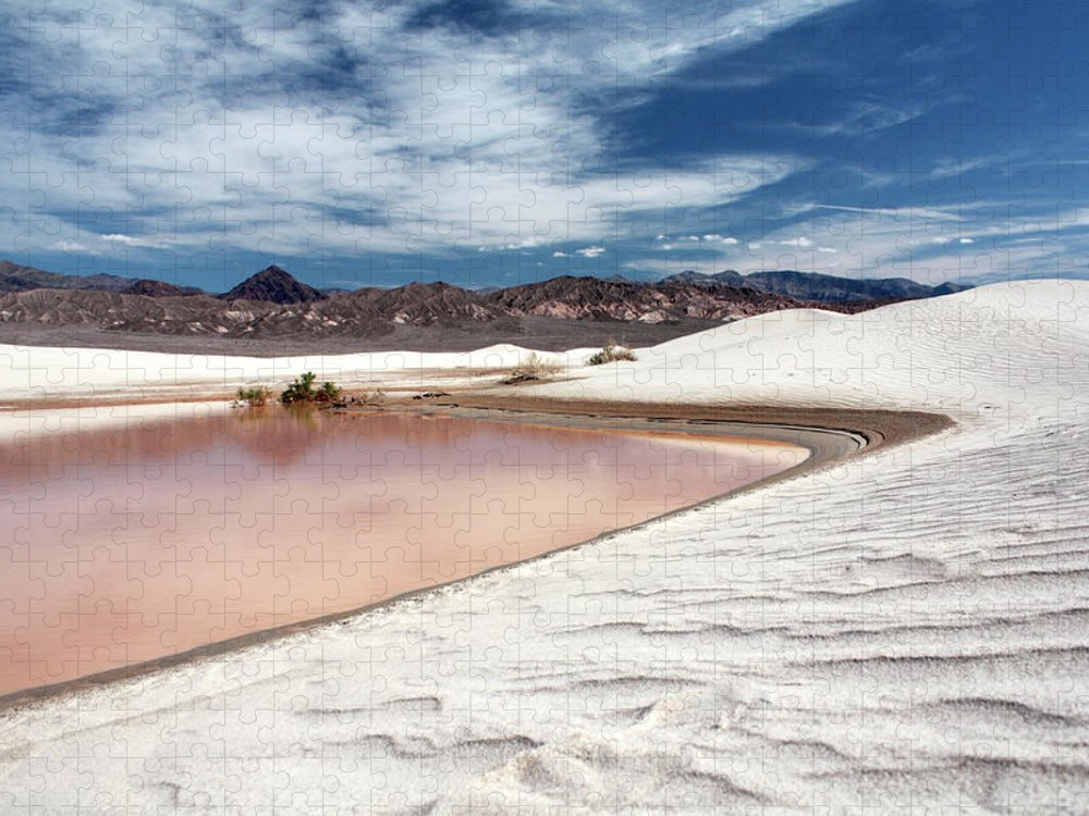 Sand Dune Puzzle featuring the photograph Flooded Dunes At Death Valley National by Gary Koutsoubis