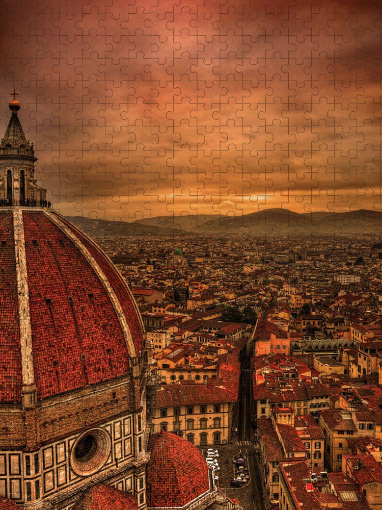 Outdoors Puzzle featuring the photograph Florence Duomo At Sunset by Mcdonald P. Mirabile