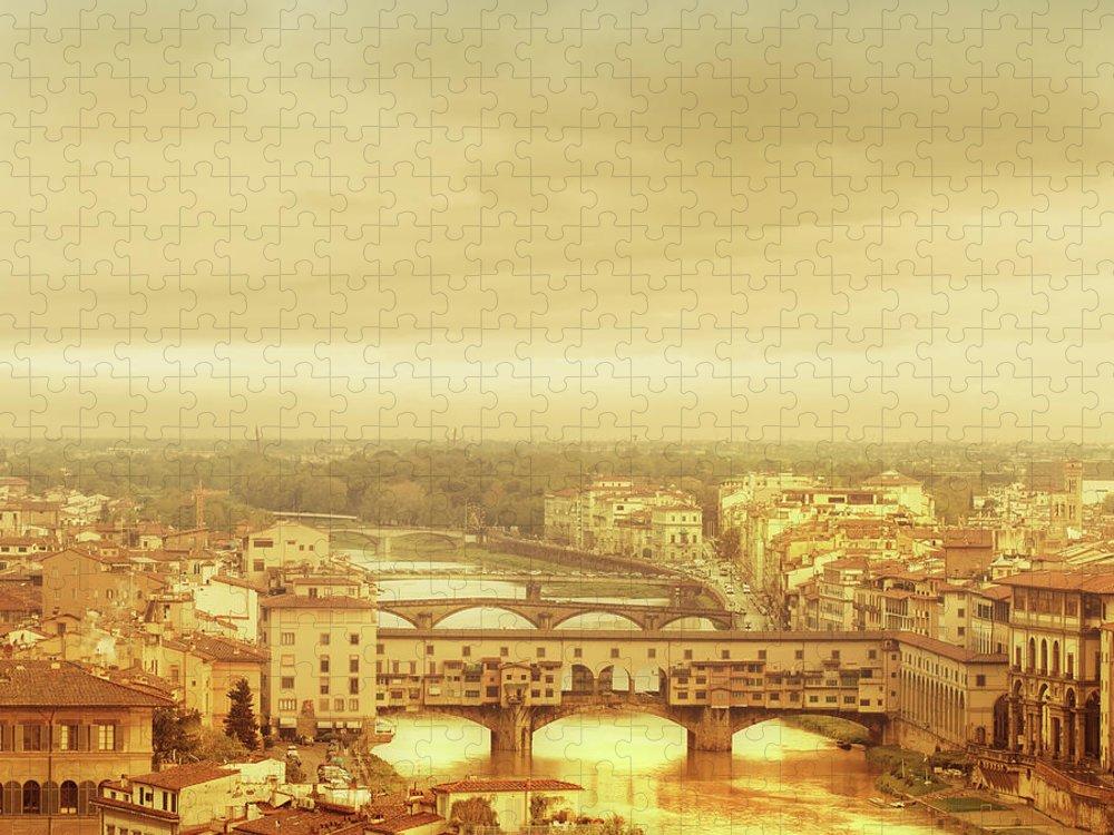 Palazzo Vecchio Puzzle featuring the photograph Florence, Ponte Vecchio by Deimagine