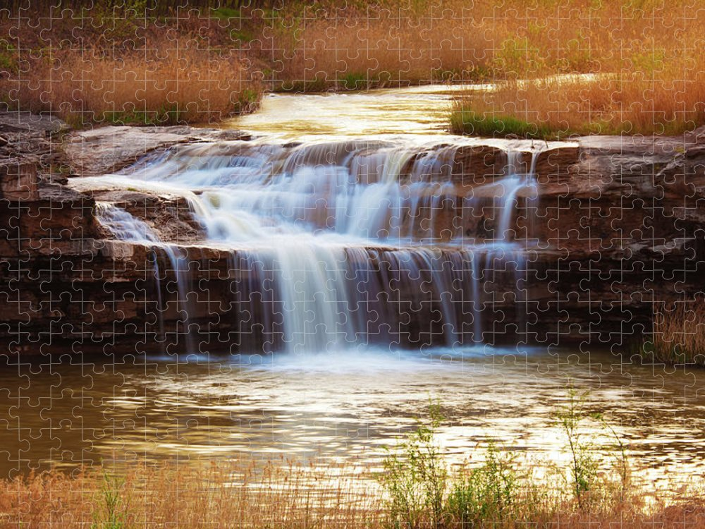 Scenics Puzzle featuring the photograph Flowing Water On The Yellow Rock by Xenotar